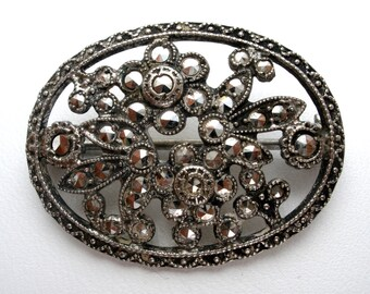 Flower Brooch Sterling Silver Marcasite Oval Pin