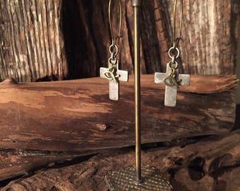 Pewter Cross Earrings