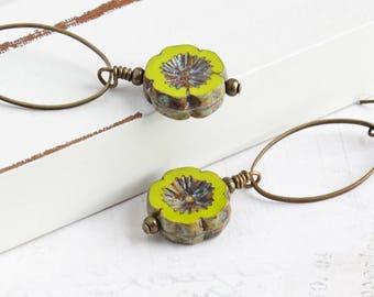 Green Flower Earrings, Chartreuse Green Earrings in Antiqued Brass, Czech Glass, Spring Jewelry