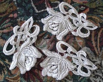 Venice Lace Embroidery Appliqués in White Color.