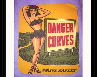pin up girl mouse pad retro rockabilly Fifties burlesque office kitsch