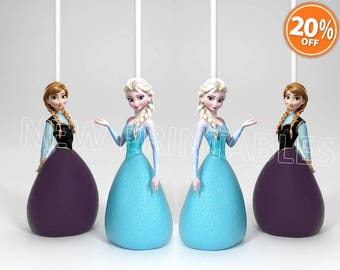 PRINTABLE Frozen Cake Pop Toppers/ Elsa cupcake toppers/ let it go/ Printable Frozen Cake Pop Toppers/ Anna Toppers/ Cake/ Instant Download