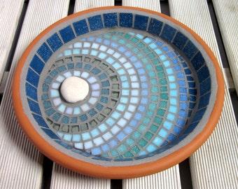 Moonlight Ripple Mosaic Bird Bath Garden Ornament