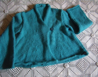 vest, flared cardigan girl 8-10 years, hand knitted, turquoise blue.