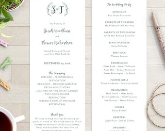 Wedding Programs Instant Download Template Sweet Bomb Edit - Wedding invitation templates: wedding order of service template