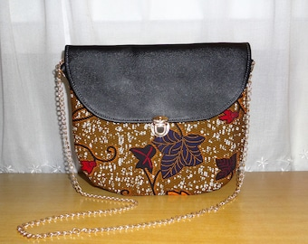 Bag Amy number 5: wax (Ankara) and leather satchel