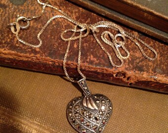 Marcasite and Silver Heart Necklace