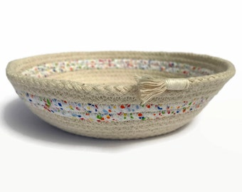 Basket, storage container, rope bowl, coiled natural rope, natural cotton, home decor, jewelry dish, trinket tray, decorative mother's day