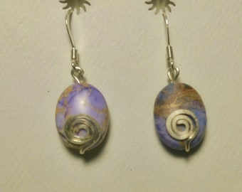 Stone and Silver Spiral Earrings