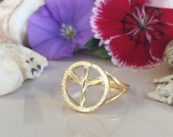 20% off-SALE!!! Peace Ring - Gold Ring - Peace Sign Jewelry - Peace Symbol Ring - Simple Jewelry - Friendship Gift - Hammered Ring