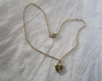 Vintage Gold Tone Chain Necklace with Puffy Heart Pendant with Aqua Rhinestone