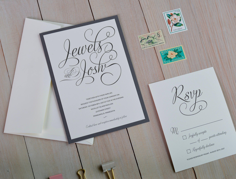 Script Wedding Invitation Set Double Layer Marriage
