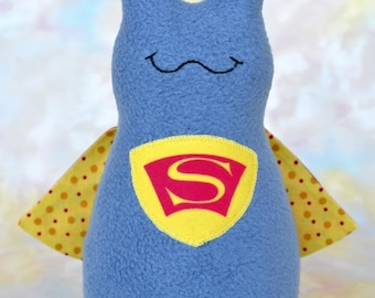 Handmade Super Slug Stuffed Animal, Blue Gray, Yellow, Red Fleece, Plush Kids Baby Toddler Art Toy, Hug Me Slug, Personalized Tag, 9 inch