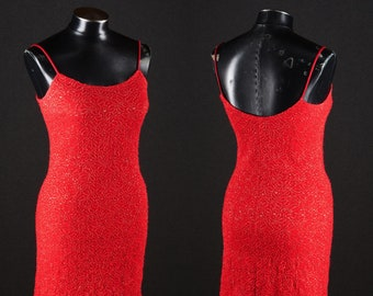 Vintage Red Sparkly Bodycon Mini Dress by Jessica McClintock for Gunne Sax / Small