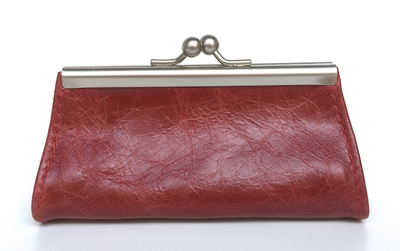 "Purse , wallet leather , "" GRANAT "" , red leather wallet"