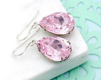 Pale Pink Earrings, Pink Swarovski Crystal Earrings, Light Pink Rhinestone Earrings, Pink Crystal Jewelry, Pink Drop Earrings Brass, Haifa