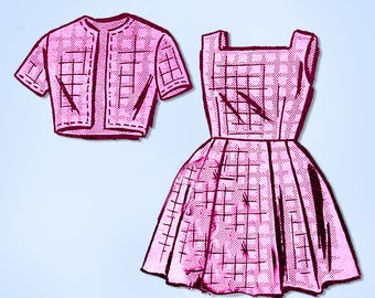 1960s Original Vintage Mail Order Pattern 4912 Little Girls Dress & Jacket Sz10