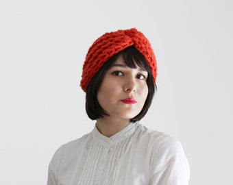 Fashion Turban - Winter Crochet Turban Hat- Fall Women's  Accessory in Orange   The Zeta Turban  