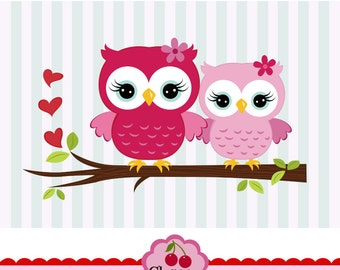 Sweet Owls,Owls for Big sister and Lil siters clip art CHERRY1- for Personal and Commercial Use