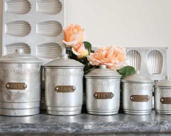 French kitchen canisters - aluminium nesting set of five