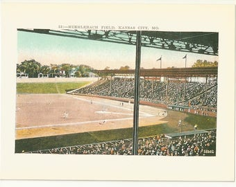 """1990 Postcard- Vintage View of Muehlebach Field, Baseball, A's, Athletics, Kansas City, Missouri, MO. ~5""""x 7"""", Outstanding Condition"""