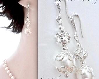 Pearl earrings - Bridal earrings, Sterling silver wires, Brides earrings, Pearl wedding earrings, Swarovski pearl earrings, LACEY