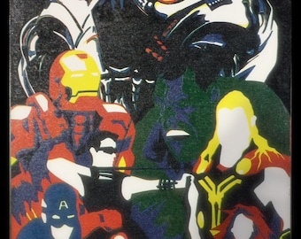 "Avengers: Age of Ultron - 11"" x 17"" 6 color Reduction Linocut Block Print - Limited Edition"