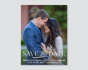 Printable OR Printed Photo Save the Date Cards - Elegant Save our Date Cards for Wedding - Simple, Modern Picture Save the Dates 105