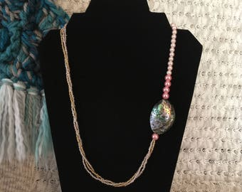 Pink natural abalone shell and glass bead necklace