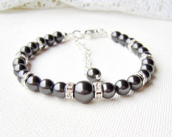 Black pearl bracelet / Swarovski pearl bracelet / wedding jewelry / gift for her / bridal bracelet / birthday gift / crystal