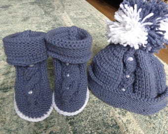 hand-made booties and hat set