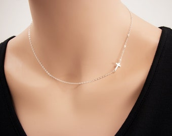 Bridal Gift For Small Sideways Cross Necklace, Sterling Silver, Celebrity Inspired  Necklaces