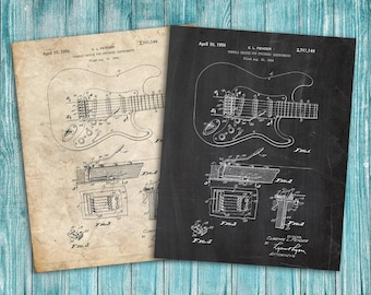 Fender Guitar Patent Poster, Music Decor, Guitar Art, Guitar Decor, Patent Print Poster Wall Decor