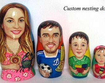 Custom nesting doll  Custom portrait /  by photo        4 pieces