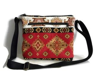 Crossbody bag, festival bag, zippered bag, carpet bag, small travel purse, shoulder bag, adjustable strap, Kilim bag, ereader, passport bag