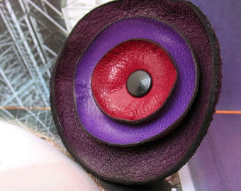 Purple Haze Leather Flower Ring, You Choose the Size, Eco-Friendly Leather, OOAK