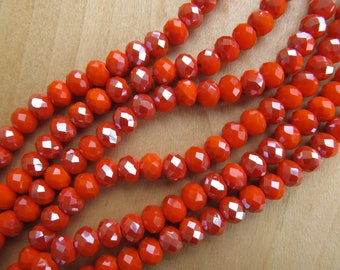 Set of 25 beads 8 mm x 6.5 mm, abacus, faceted semi-plaque glass Pearl shape: papaya orange.