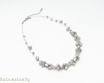 Silver gray freshwater pearl necklace with glass beads on silk thread, gray pearl necklace, short, simple, bridesmaid necklace