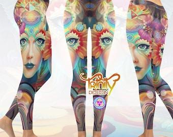 Pixie Leggings Psytrance Sacred Geometry Psychedelic Clothing Festival Clothing Yoga Leggings Printed Leggings Festival Leggings Yoga Pants