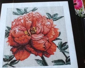 PEONY IN BLOOM - Cross Stitch Pattern Only