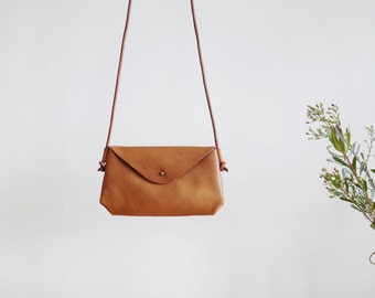 Small Envelope Crossbody Bag - minimal leather shoulder bag
