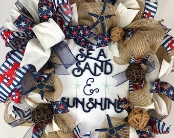 Beach Wreath, Nautical wreath, Beach burlap wreath, Seashell wreath, Summer Wreath, Front door wreath, Starfish wreath, Deco mesh wreath