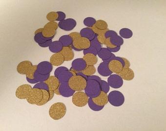 200 Purple Gold Confetti, Baby Shower Confetti, Wedding Confetti, Bridal Shower, Circle Confetti, Birthday Party, Gold Glitter Confetti