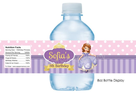 Sofia The First Water Bottle Labels DIY Printable - 8 oz water bottle label template free