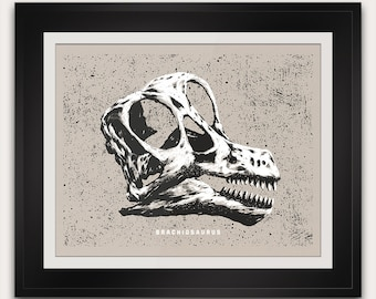 Brachiosaurus - Jurassic - Dinosaurs of the World - Fossil Skull - Paleontology - 14x11 Inches - Handmade Screenprint Poster Art