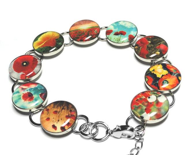 Poppy Flowers Bracelet, Red Poppies Handmade Jewelry, Resin Bracelet, Gift for Her