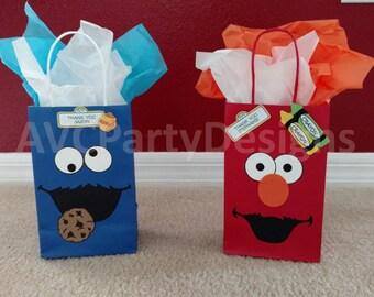 Sesame street, Elmo, Cookie monster, Abby Cadabby,Grover,Ernie,Big Bird Birthday Party Favor Bags