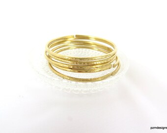 Brass bangle Set of five thick brass bangles, hammered tribal bracelets, belly dancing jewlery