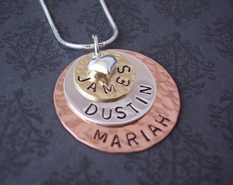 Hand Stamped Jewelry - Personalized Necklace Triple Stack MIXED Metals copper, sterling silver, brass with heart charm - mommy jewelry