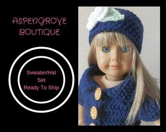 18 inch doll handmade navy Sweater hat set Ready to ship